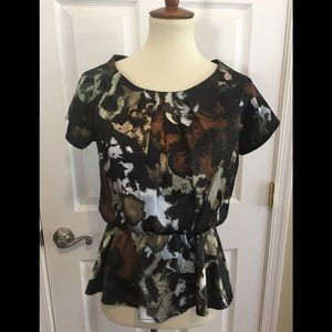 Pleione Top Blouse With Elastic Waist Size XS